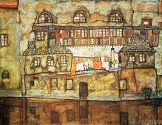 Egon+Schiele+-+Hauswand+am+Fluß