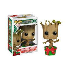 Get in the holiday spirit with this Guardians Of The Galaxy Holiday Dancing Baby Groot Bobble-Head Vinyl Figure. - Part of the Funko Pop! Vinyl Figure Marvel collection - It bobbles! - 3.75 inches tal
