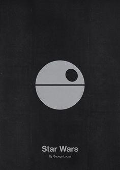 Star Wars Minimalist Movie Poster Design by Eder Rengifo Best Movie Posters, Minimal Movie Posters, Minimal Poster, Cinema Posters, Movie Poster Art, Poster S, Star Wars Poster, Cool Posters, Star Wars Art