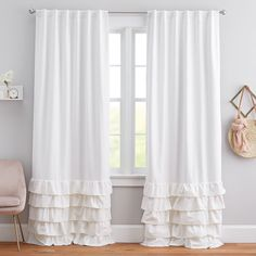 Spectacular living room drapes - make sure you visit our post for many more tips and hints! Teen Curtains, Ruffle Curtains, Drapes And Blinds, Curtains With Rings, White Curtains, Panel Curtains, Bedroom Curtains, Girls Room Curtains, Living Room Drapes