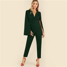 c71c66b6ed7 Green Plunging Neck Cloak Sleeve Solid Jumpsuit Elegant V neck High Waist Jumpsuits  Women Autumn Poncho