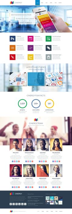 Cinergy - Modern Business HTML Template colorful modern web design website graphic color flat ui ux graphics Mobile Web Design, Web Ui Design, Responsive Web Design, Ui Web, Best Web Design, Graphic Design, Design Sites, Web Design Examples, Interface Design