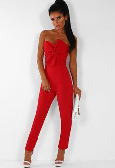 087d0bf279 Model Worthy Red Knot Front Strapless Jumpsuit - 14