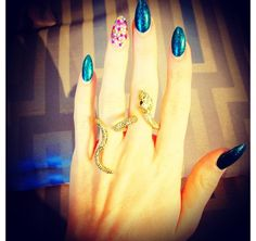 Stiletto Nails. LOVE the nails and the ring !!!