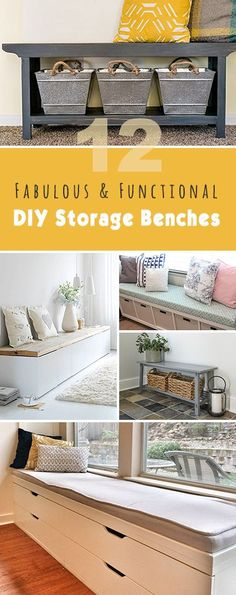 12 Fabulous & Functional DIY Storage Benches • Lots of great projects and tutorials! building furniture building projects
