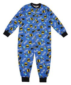 Boys Blue Cotton Lightweight Character Onesie Pyjama Batman