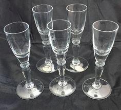Bohemia Cordial Glasses Set of 5 Faceted Stemware Czechoslovakia Hand Made 1 Oz