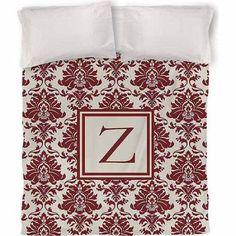 Thumbprintz Damask Monogram Duvet Cover, Crimson, Red