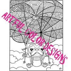 Pug Dog Coloring Page Printable Download For by ArtfulColorDesigns