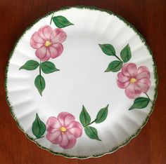 "Blue Ridge Southern Potteries Prairie Rose Platter Fluted Colonial Shape 11.5"" #BlueRidge"