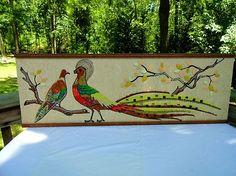 VTG MID Century Modern Peacock Bird Gravel Mosaic Tile Stone Rock Wall Art Retro