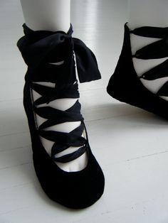 Black Lace Up Boot, RAVEN Wedding Flats, Steampunk, Goth, Lolita, Jane Austen Regency Shoes by Bobka Baby. $155.00, via Etsy.