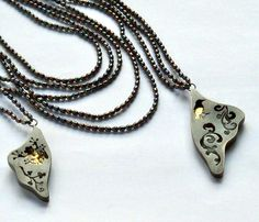 Melitina Balabin ~I FLIED. I SAW. NOW I'M REMEMBERING, #necklace, 2011, silver, patina, leaf gold, freshwater pearl | melitina.balabin.net