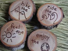 Outdoors wooden magnet set -  wood burned - hike, ride, feel, enjoy