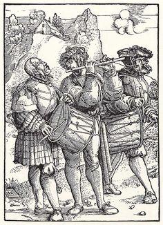 Artist: Schäufelein, Hans Leonhard, Title: Zwei Trommler und ein Pfeifer, Date: ca. 1515