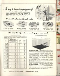 "Sears: Color-perfect wallpapers: color magic for every room, 1948 -- ""It's easy to hang the paper yourself"" says Sears. Love the illustrations!"