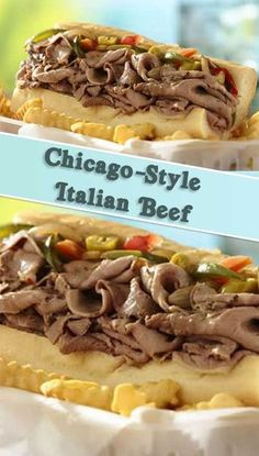 Slow Cooker Chicago-Style Italian Beef What is it about a savory, juicy sandwich that hits all the notes for us? This Slow Cooker Chicago-Style Italian Beef would make a perfect weeknight dinner. Italian Beef Recipes, Slow Cooker Italian Beef, Slow Cooker Recipes, Crockpot Recipes, Cooking Recipes, Hamburger Recipes, Tofu Recipes, Healthy Recipes, Beef Recipes