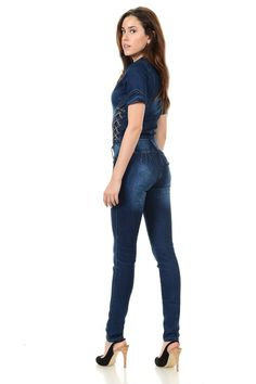 7ebe3da80d3c M.Michel Womens Jumpsuits and Rompers Push Up Jeans Style N1088 Blue Size  07