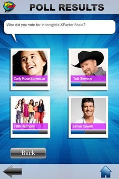 Xfactor fans...who did you vote for?  Sample screenshot of the WowZapp poll results.