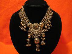 BIG Antique Tribal Heavy Brass Etruscan Ball Beaded Heart Bib Choker Necklace by JewelryStash on Etsy https://www.etsy.com/listing/170600648/big-antique-tribal-heavy-brass-etruscan