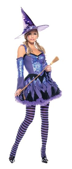 Cast a sexy spell wherever you go in this great new costume! Includes dress with detached sleeves and hat. Petticoat, striped tights, and broom are not included. Medium/large fits sizes 8-12.