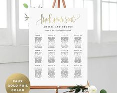 Wedding Seating Chart Template Set Printable Table Seating | Etsy Seating Chart Wedding Template, Seating Plan Wedding, Seating Charts, Wedding Table, Wedding Reception, Print Fonts, Title Card, Online Print Shop, Table Seating