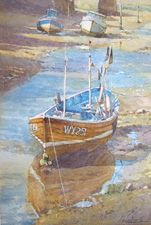 Watercolour-Demonstration-Boats-In-The-Beck-Staithes- Robert Brindley