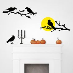 These crows are stickin' around for #Halloween! Dress up your walls with these festive and frightening removable wall art decals.