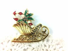 Vintage Enamel Candy Cane & Sleigh Christmas brooch, gold tone, Holiday jewelry. on Etsy, $12.00