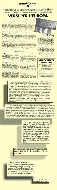 il Corsivo / 1 Febbraio 2000 Anno VII * Numero 9 * 1 Febbraio 2000 Lecce - Italia il Corsivo Anno VII * Numero 9 * 1 Febbraio 2000 Lecce - Italia URL http://www.artemorilla.com/index.php?ci=95