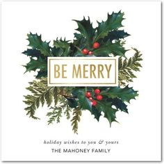 Merry Array - Flat Holiday Greeting Cards - Baumbirdy - Spruce Green - Green : Front