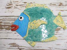 Fish big lips blue wall hanging Andrew handmade by SeamariesBounty