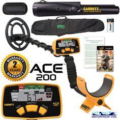 Amazon.com : Garrett ACE 200 Metal Detector with Waterproof Coil Pro-Pointer II and Carry Bag : Garden & Outdoor