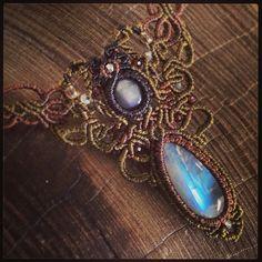 レインボームーンストーン×スターサファイアマクラメコンビネーションネックレス。 #RainbowMoonstone #macrame #Accessories #Necklace