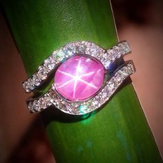 "Fresh off the bench! ""Rose"" features the finest quality pink star sapphire wrapped in .56 carats of pavé diamonds."