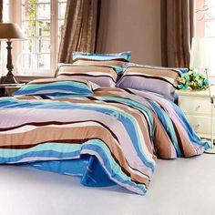 Modern Blue Stripe Reactive Print Cotton 4-Piece Full/Queen Size Bedding Sets