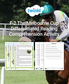 This Melbourne Cup comprehension activity lets students practise their reading skills & learn about the Melbourne horse race. Includes a handy answer sheet. Melbourne Horse Racing, Reading Comprehension Activities, Melbourne Cup, Multiple Choice, Classroom Displays, Differentiation, Reading Skills, Task Cards, Mathematics