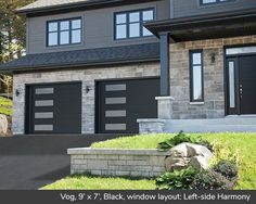 Discover the Vog design from Garaga Garage Doors which offers a contemporary look for your home. Black Windows Exterior, Stucco And Stone Exterior, Black Garage Doors, Garage Door Windows, Carriage Garage Doors, Garage Door Design, House Doors, Modern Exterior, Contemporary Garage Doors