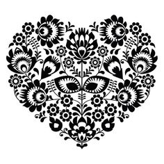 Hungarian Embroidery Patterns Polish folk art heart pattern in black - wzory lowickie - Polish folk art heart pattern in black - wzory lowickie Sticker ✓ Easy Installation ✓ 365 Day Money Back Guarantee ✓ Browse other patterns from this collection! Hungarian Embroidery, Folk Embroidery, Learn Embroidery, Embroidery Stitches, Embroidery Patterns, Machine Embroidery, Floral Embroidery, Vektor Muster, Bordado Popular