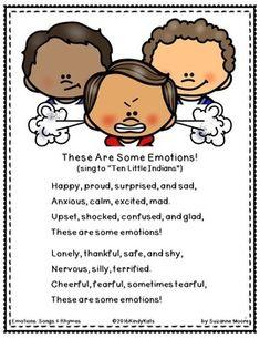 Emotions Songs and Rhymes - Colorful Dreams Kindergarten Nursery Feelings Preschool, Preschool Poems, Teaching Emotions, All About Me Preschool, Kindergarten Songs, Preschool Lessons, Feelings And Emotions, Preschool Classroom, Social Emotional Activities