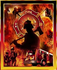 fire, firefighters, truck, axe, fire symbol, leader hose, leader, bugle, medical symbol, mask