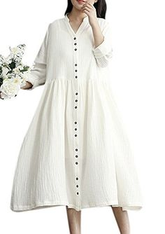 Lingswallow Womens Bohemian Loose Linen Dress Summer Long Sleeve Dress White >>> Learn more by visiting the image link.  This link participates in Amazon Service LLC Associates Program, a program designed to let participant earn advertising fees by advertising and linking to Amazon.com.