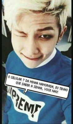 Read Imagens Para Telemóveis from the story BTS memes by (Mulher do Hobi♥) with reads. Bts Namjoon, Bts Jungkook, Taehyung, Jung Hoseok, Bts Memes, Foto Bts, Bts E Got7, Frases Bts, Pink And Gray Nursery