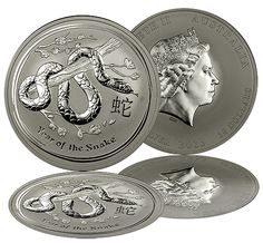 """The Perth Mint has released the first of the 2013 """"Year of the Snake"""" Silver Coins to the American Public. Minted as part of the Australian Silver Lunar Coin Series, these coins have limited worldwide mintages and a new design each year representing the ancient Chinese Lunar Calendar. The magnificent Silver Coins are struck in .999 fine Silver and are now available in the large Kilo size Silver Bullion Coin."""