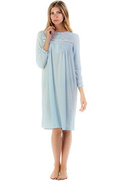 28aff4d0ae Casual Nights Women s Cotton Blend Long Sleeve Nightgown - Blossom Green -  Large