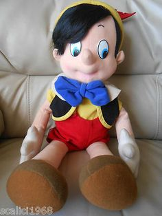 """$89.97 Disney Pinocchio Vintage VTG Plush Stuffed Toy 19"""" Realistic Hair EUC RARE"""