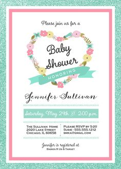 Baby Shower Invitation and personalized sign, Mint & Coral, Heart Wreath