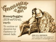 Grandiloquent Word of the Day: Honeyfuggle (HUN The Words, Fancy Words, Great Words, Unusual Words, Unique Words, Beautiful Words, Writing Words, Writing Ideas, Writing Prompts