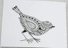 Hand Drawn Henna Style Bird via Etsy