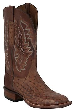 Lucchese Cowboy Collection Men's Brown Full Quill Ostrich Exotic Square Toe Boots